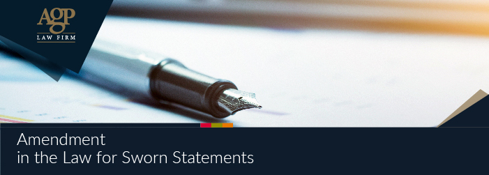 Amendment in the Law for Sworn Statements